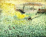 Henri Edmond Cross hamnen i toulon painting